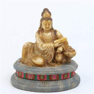 Chinese Carving Shoushan Stone Guanyin Statue Seal