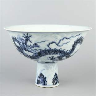 Chinese Blue And White Porcelain Bowl With Dragon