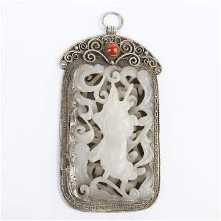 Chinese Inlay Jade Carving Guan Gong Silver Pendant