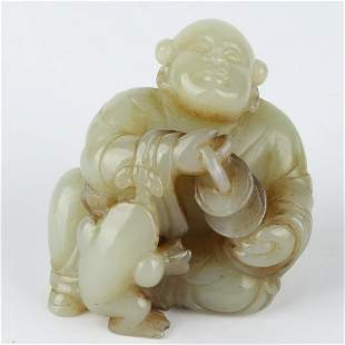 Chinese Jade Carving Mythology Figure And Toad Statue