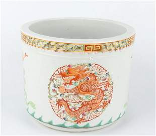 Chinese Porcelain Brush Pot With Dragon And Phoenix