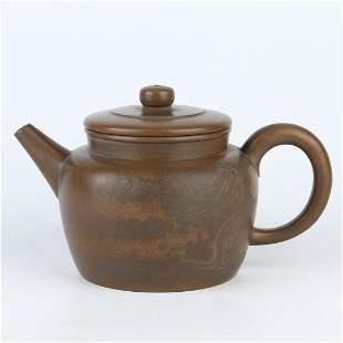 Chinese Carved Dragon Yixing Zisha Clay Teapot