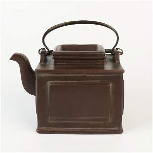 Chinese Yixing Zisha Clay Teapot with Copper Handle