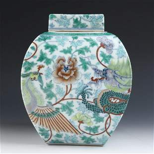 Chinese Famille Verte Porcelain Covered Jar