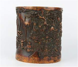 Chinese Old Bamboo Carved Brush pot