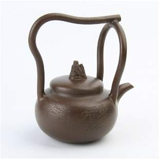 Chinese Collection Yixing Zisha Clay Handle Teapot