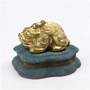 Chinese Gilt Bronze Foo Dog Statue