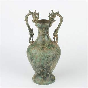 Chinese Double Dragon Handle Bronze Vase Bottle