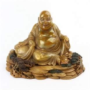 Chinese Carving Shoushan Stone Maitreya Buddha Statue