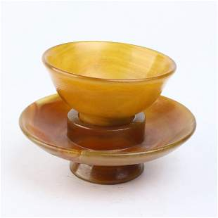 Chinese Agate Carving Cup and Plate Set