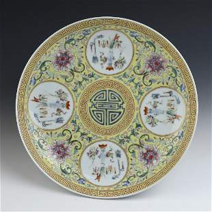 Chinese Floral Pattern Famille Rose Porcelain Plate
