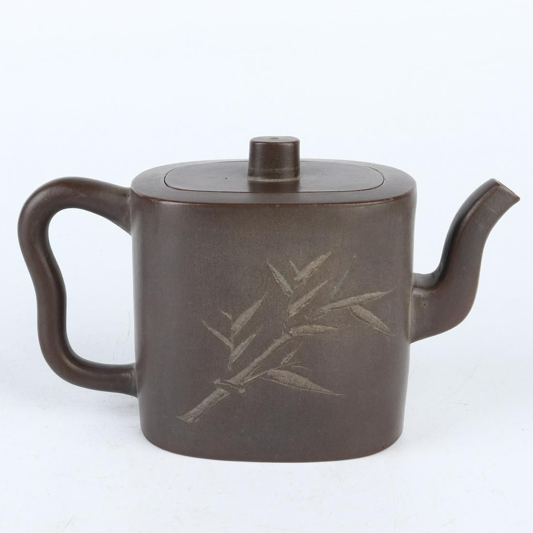 Chinese Carved Bamboo Pattern Yixing Zisha Clay Teapot