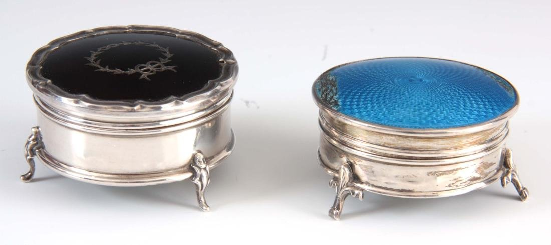 TWO EDWARDIAN SILVER RING BOXES the first with tor