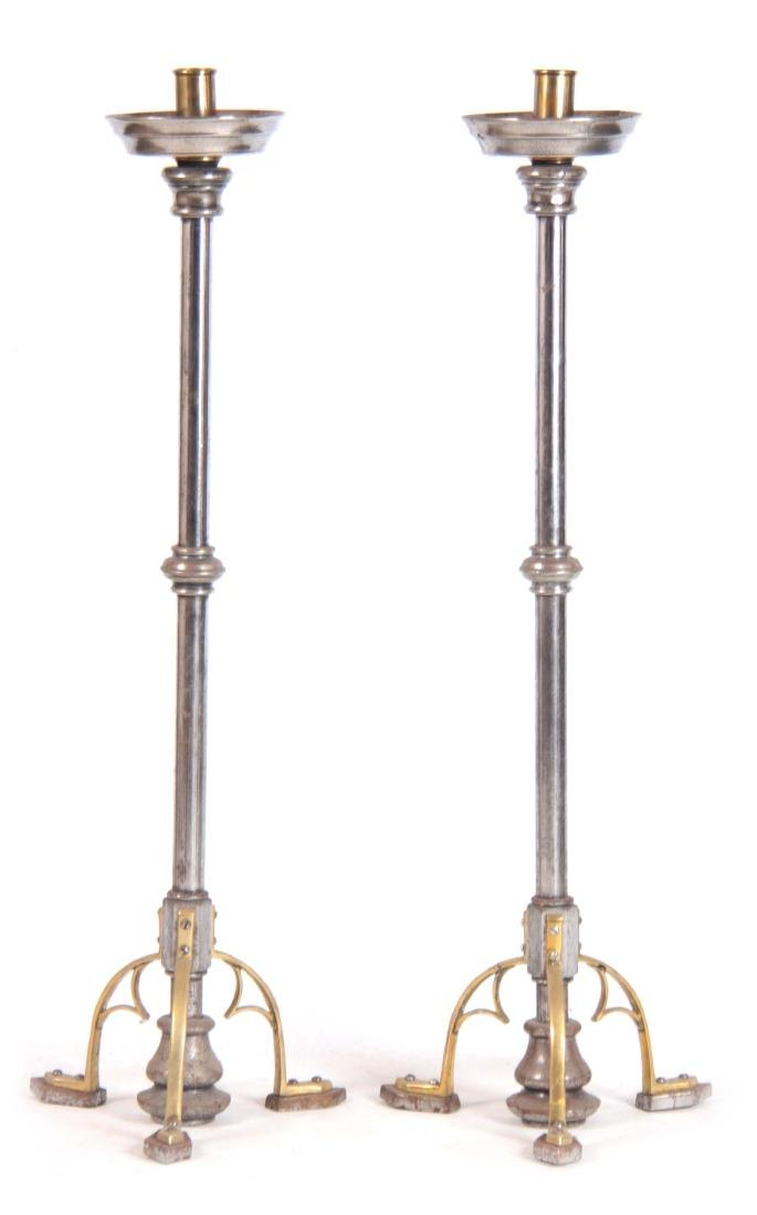 A LARGE PAIR OF LATE 19th/EARLY 20th CENTURY BRASS