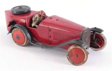 A 1930's TIN PLATE CLOCKWORK MECCANO RACING CAR wi