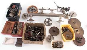 A VINTAGE STEEL WATCHMAKERS LATHE with wheel cutti