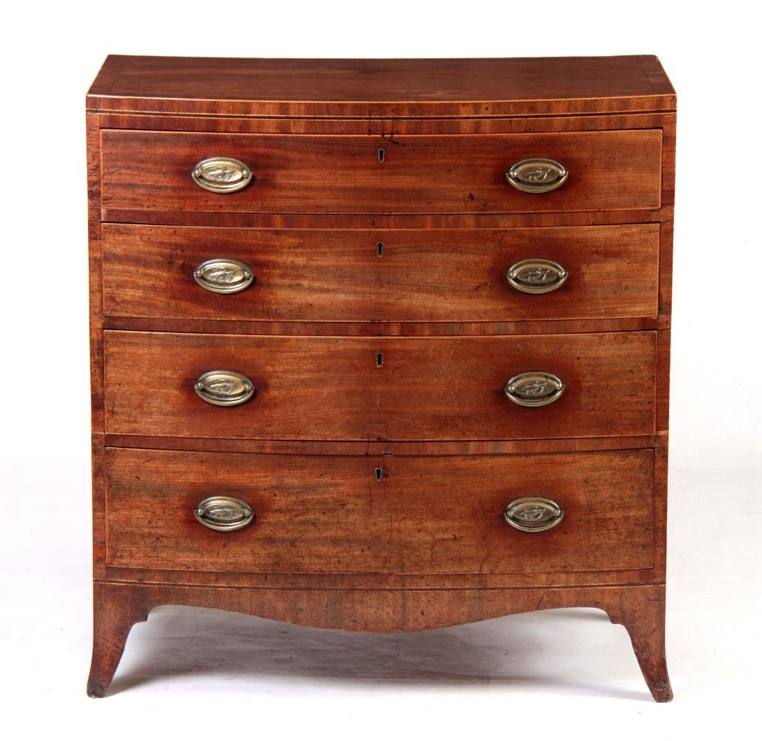 A LATE GEORGIAN MAHOGANY BOW-FRONT CHEST OF DRAWER