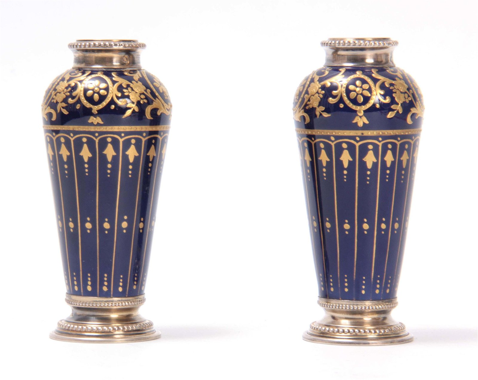 A PAIR OF 19TH CENTURY FRENCH SILVER MOUNTED SEVRE