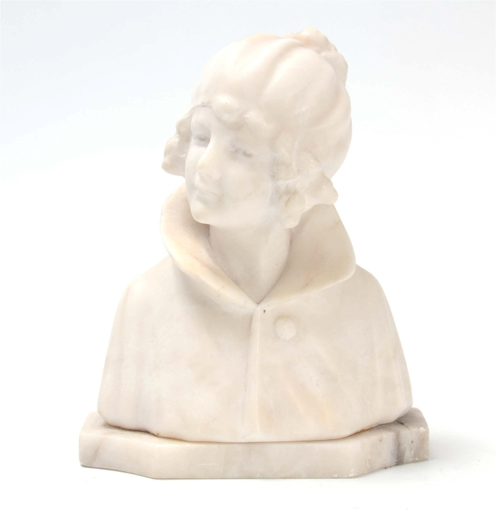 A 19TH CENTURY WHITE MARBLE SCULPTURE depicting th