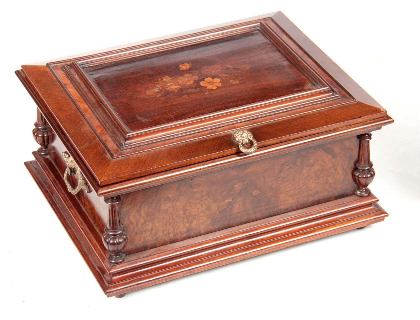A LATE 19th CENTURY WALNUT AND MARQUETRY INLAID SY