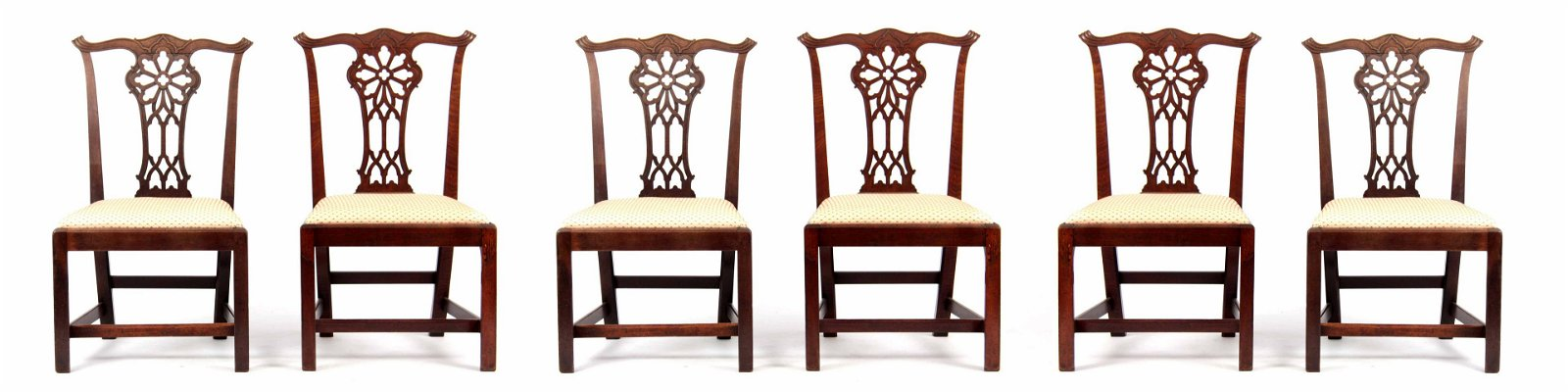 A SET OF SIX GEORGE III CHIPPENDALE STYLE MAHOGANY