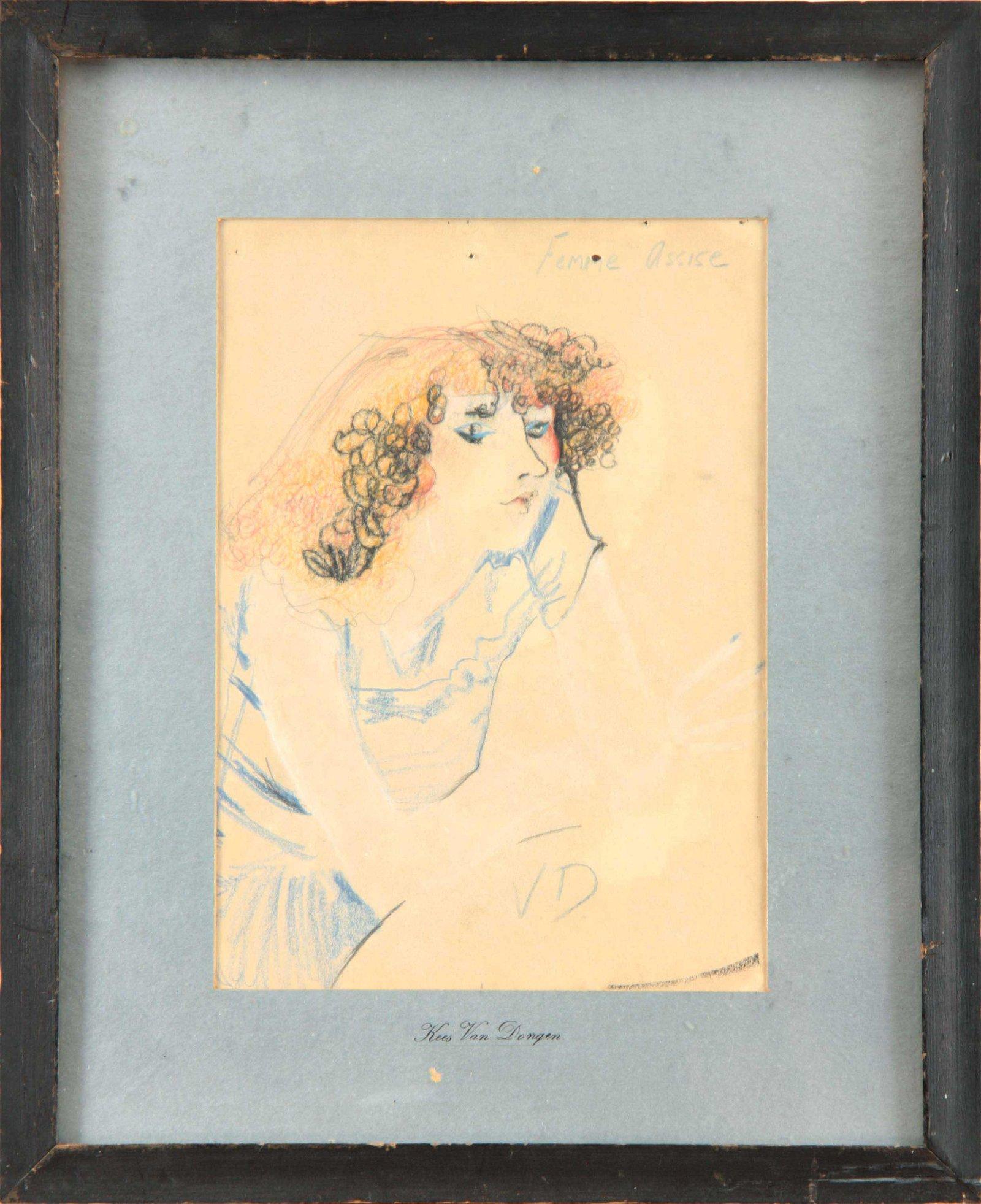 KEES VAN DONGEN 1877 - 1968. Pastel sketch titled