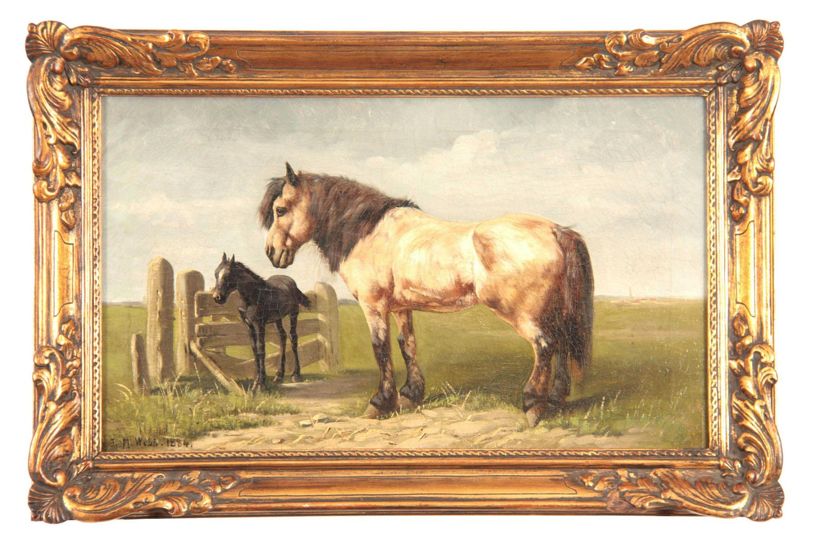 L.M. WEBB. 19th CENTURY OIL ON CANVAS. Horse and fowl