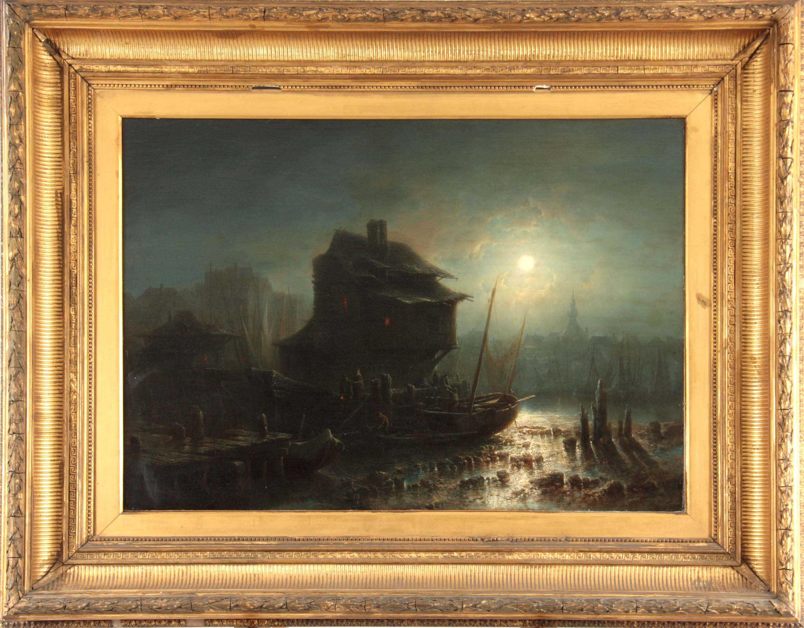 A 19th CENTURY OIL ON CANVAS. European moonlit port