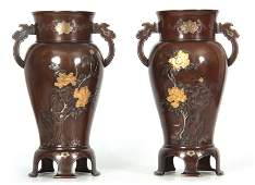 A PAIR OF JAPANESE MEIJI PERIOD INLAID MIXED METAL