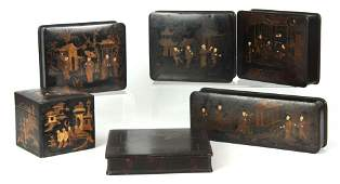 A SELECTION OF SIX 19TH CENTURY ORIENTAL BLACK LAC