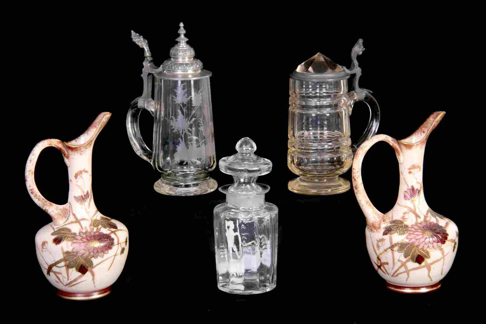 A 19TH CENTURY CONTINENTAL CUT GLASS HALF LITRE ST