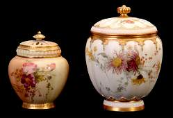 A ROYAL WORCESTER SQUARE LOBED GILT AND BLUSHED IV