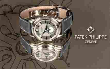 A GENTLEMANS 18CT WHITE GOLD PATEK PHILIPPE