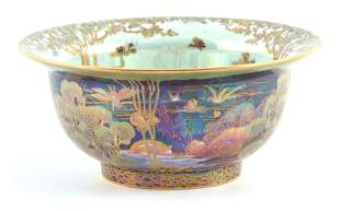 A FINE WEDGWOOD FAIRYLAND LUSTRE FOOTED BOWL WITH