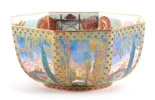 A WEDGWOOD FAIRYLAND LUSTRE FOOTED OCTAGONAL BOWL AFTER