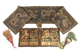 A SELECTION OF CHINESE EMBROIDERED SILK PANELS one with