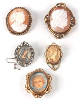 A COLLECTION OF FOUR CAMEO BROOCHES AND TWO MINIATURE
