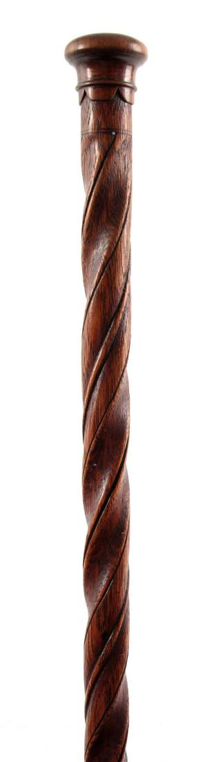 AN EARLY 18TH CENTURY BARLEY TWIST OAK WALKING STICK