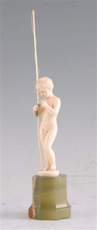 FERDINAND PRIESS. AN ART DECO CARVED IVORY FIGURE
