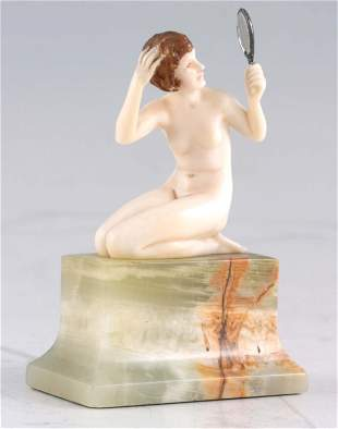 FERDINAND PREISS. AN ART DECO CARVED IVORY FIGURE