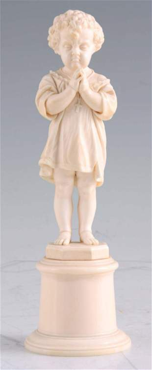 A LATE 19TH CENTURY CARVED IVORY FIGURE modelled as a