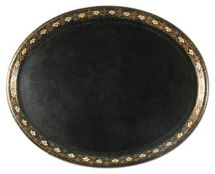 A 19TH CENTURY PAPIER MACHE OVAL TRAY with floral