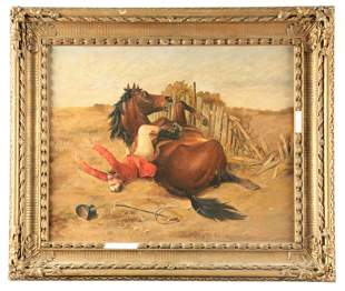 A 19TH CENTURY OIL ON BOARD. Fox hunting scene with