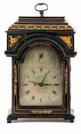 A GEORGE III LACQUERED DOUBLE FUSEE BRACKET CLOCK the