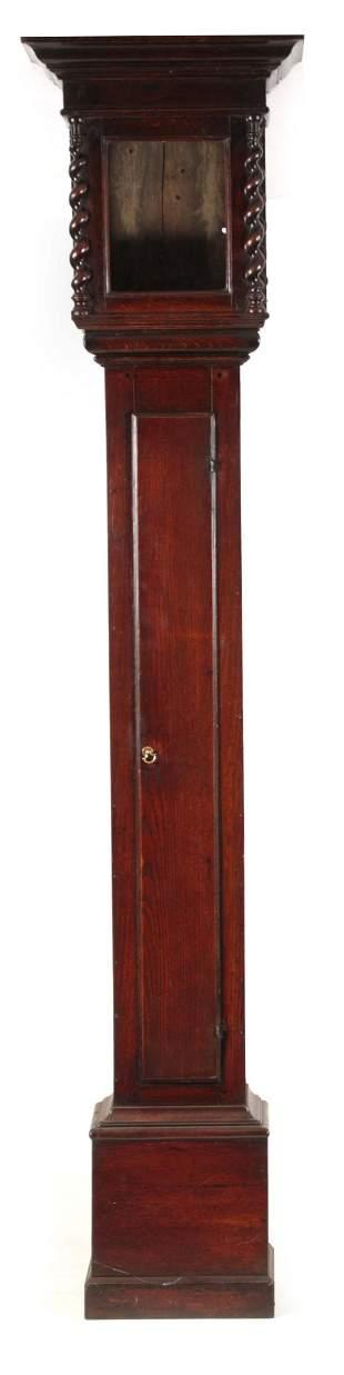 A RARE LATE 17TH CENTURY OAK LANTERN CLOCK CASE of slim