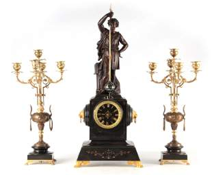 A LATE 19TH CENTURY FRENCH FIGURAL MYSTERY CLOCK