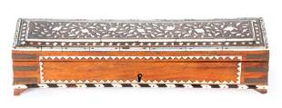 A 19TH CENTURY ANGLO-INDIAN IVORY INLAID BRASS BOUND