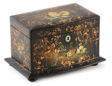 A 19TH CENTURY PAPIER MACHE TEA CADDY decorated with