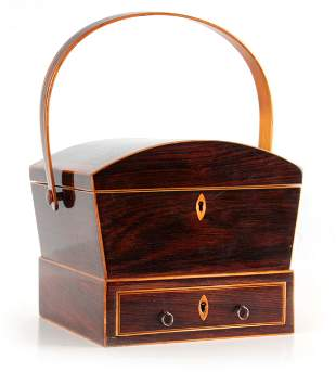 A REGENCY ROSEWOOD AND BOXWOOD SEWING BOX with