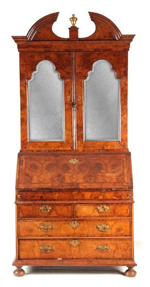 A WILLIAM AND MARY BURR WALNUT BUREAU BOOKCASE with